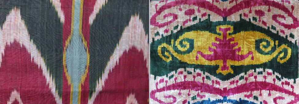 Silk adras ikat and silk velvet ikat